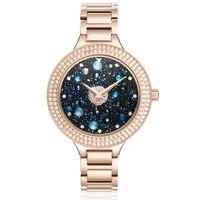Новый 3D Вселенной женские кварцевые часы женщина розового золота браслет Водонепроницаемый часы Дамская мода столешницы бренд класса люкс