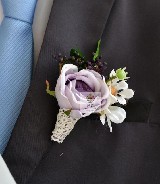 Wedding best man groom boutonniere girl bride wrist corsage silk wedding best man groom boutonniere girl bride wrist corsage silk rose flower pin groomsman party prom mightylinksfo