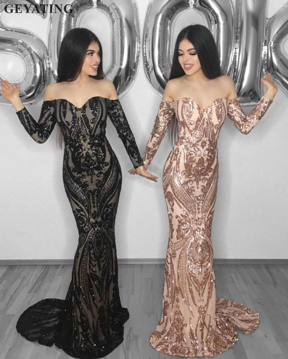 ea71e3a5 Black Sequins Mermaid Arabic Evening Dress Long Sleeves Off the Shoulder  Rose Gold Embroidery Dubai Prom