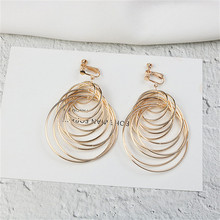 Europe America Hyperbolic Multi-layer Round Circle Geometric Woman Girls Long Clips Earrings Fashion Jewelry-LAF