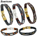 Samyeung 2017 Genuine Leather Cuff Bracelets Men Bracelet Bangles Male Women Braslet Multilayer jewelry Friendship Pulseras