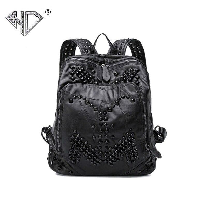 Women s Fashion Backpack School Shoulder Bag Rivets Mochila Holografica Borse Galaxia Ladies Genuine Leather Sheepskin