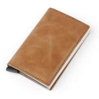 Fashion Men Rfid Blocking Business Card Holder Card Metal Aluminium Card Protector Crazy Horse Leather Automatic Pop Up Wallet