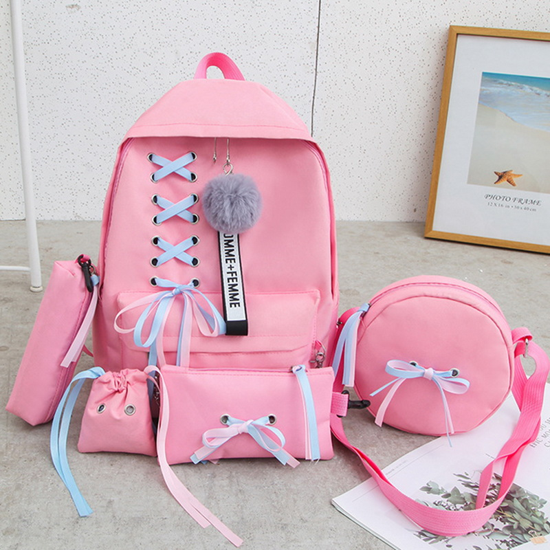 MoneRffi Chain USB Backpack Women Canvas 5pcs/set Women Backpack Teenager Girls Backpacks Shoulder Bag Female Student School Bag