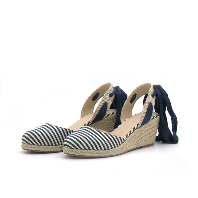 68a567465c0 Teahoo Summer Ankle Strap Women Wedge Platform Sandals Stripe Espadrilles  Sandals Women Summer Shoes