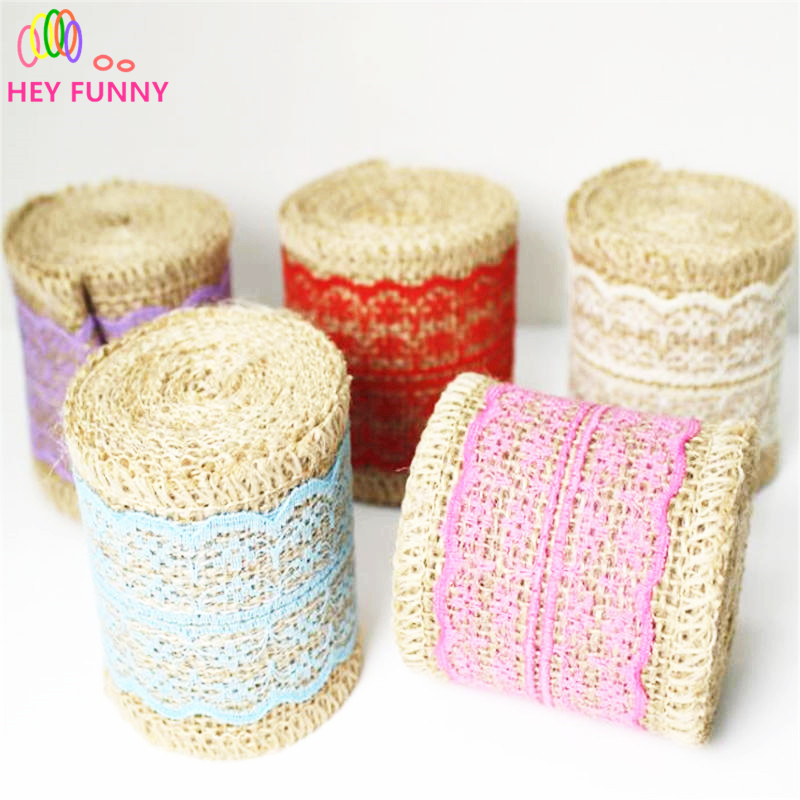 HEY FUNNY 2M/roll Linen Fabric Lace Ribbon Lace Edge Linen Roll Crafts DIY Wedding Gift Decor Christmas Gift Wrap Packaging 6cm