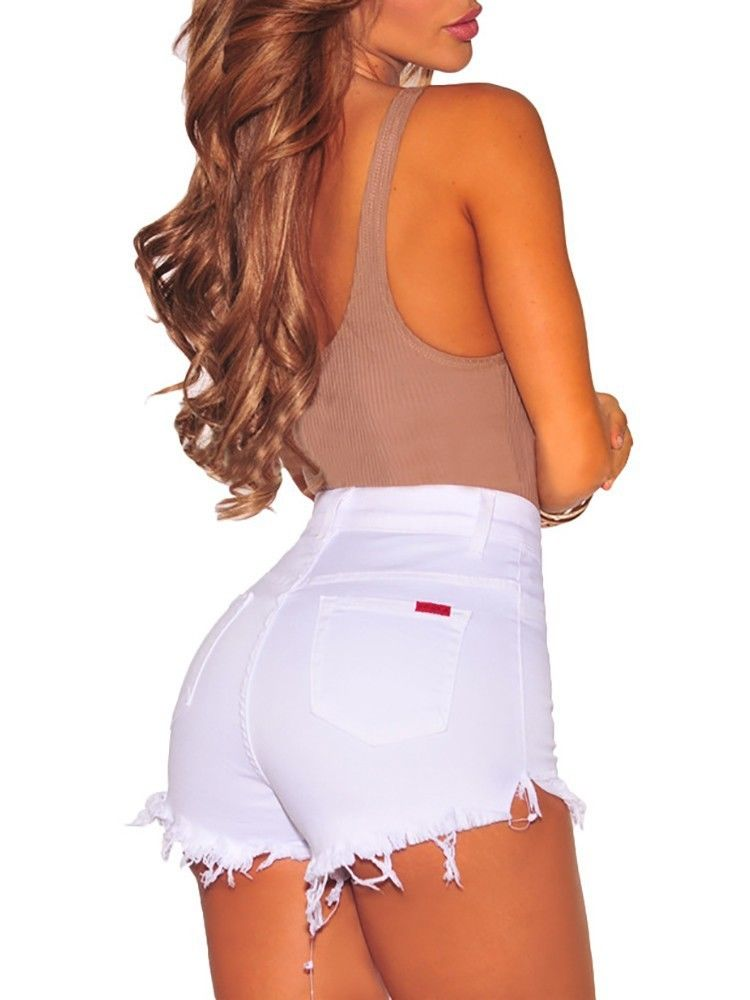 Hot Summer Women Casual High Waisted Short Mini Button Short Pants Black White Sexy Shorts 16