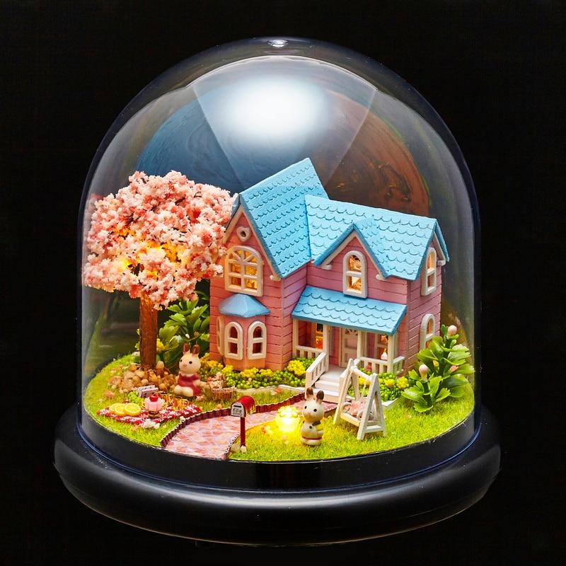 Möbler DIY Doll House Wodden Miniatura Doll House Möbel Kit Glass - Dockor och tillbehör - Foto 3