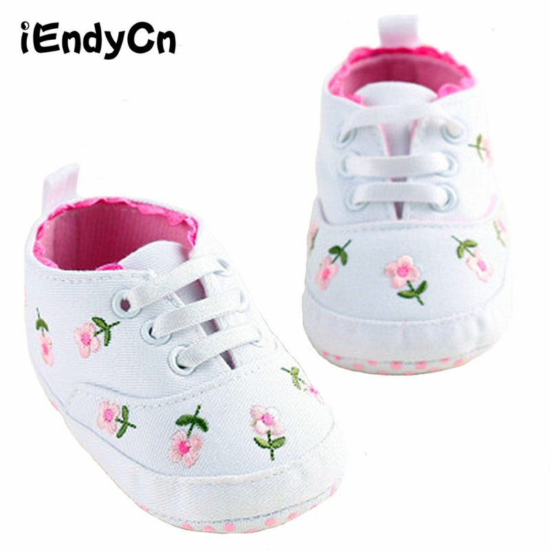 Babies Skor För Baby Girl Spring White Pink Flowers Baby Skor Kvinnor Baby Toddler Shoes A14LLR