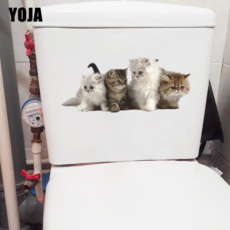 YOJA 23.7*10CM A Group Of Playing Cats Lovely Animal Bedroom Wall Decor Home Toilet Wall Sticker T1-0994 image