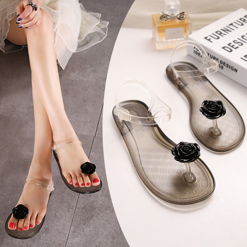 5ea4d3b411a38 ... Feedback Questions about Summer transparent jelly sandals girls flowers flat  flat with toe plastic plastic soft bottom holiday beach beach women s shoes  ...