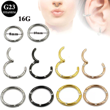 BOG 40PCS New G23 Titanium Hinged Segment Ring 16g Nose Lip Nipple Septum Cartilage Nipple Tragus Clicker Captive Body Piercing