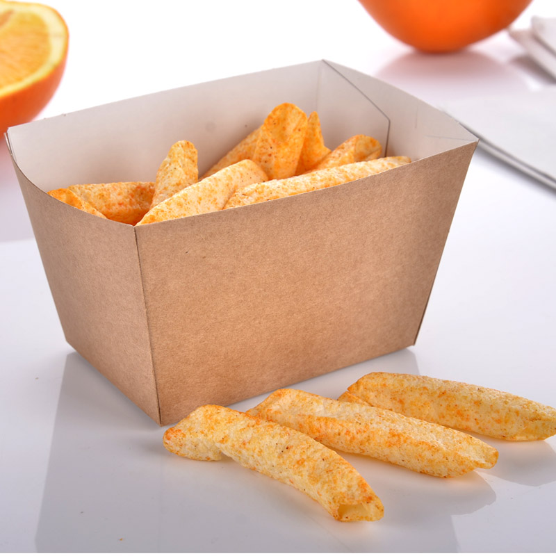 Fashion Square Kraft Paper French Fries Box Disposable Fried Snacks Popcorn Party Dessert Box Holder Promotion 100pcs/lot SK728