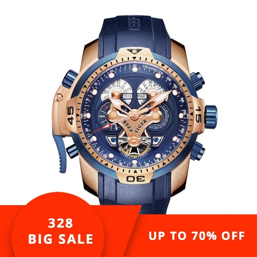 Récif Tigre/RT montre de sport pour homme avec Compliqué Grand Cadran Calendrier Perpétuel Acier montre mécanique Bleu bracelet en caoutchouc RGA3503