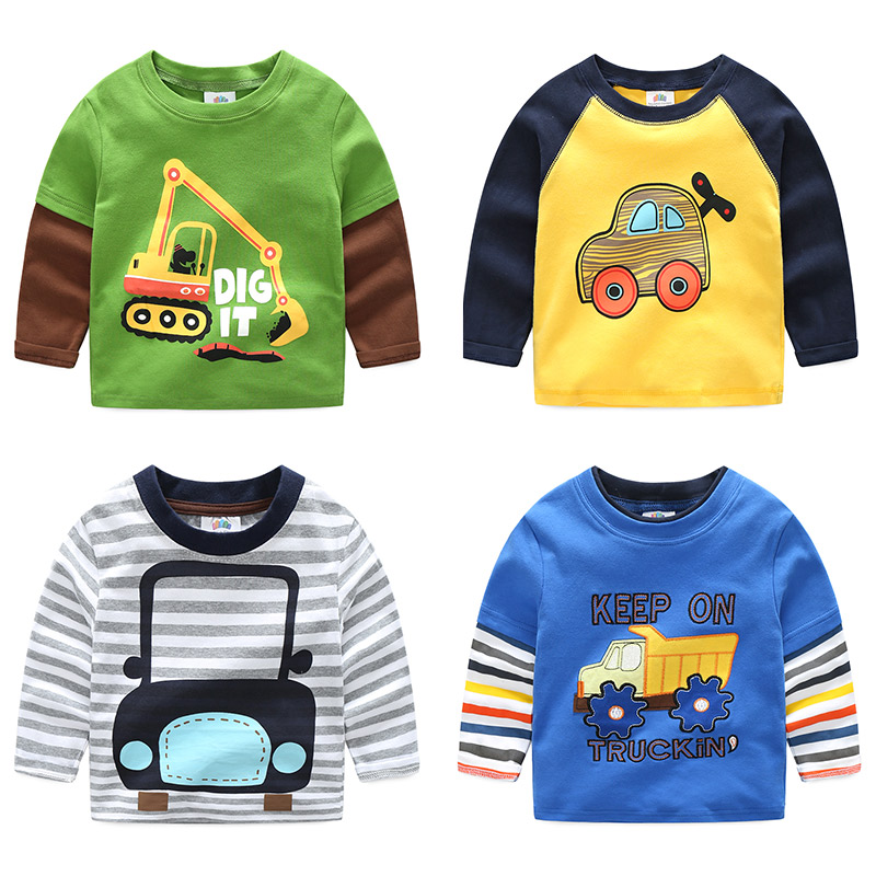 2018 Spring Autumn For 2-9 10 Years Children Cotton Striped Patchwork Cartoon Car Bus Truck Baby Kids Boys Long Sleeve T Shirts children s polo shirts 2018 spring autumn long sleeve striped kids boys cotton lapel polo shirt for child 2 15 years boy clothes