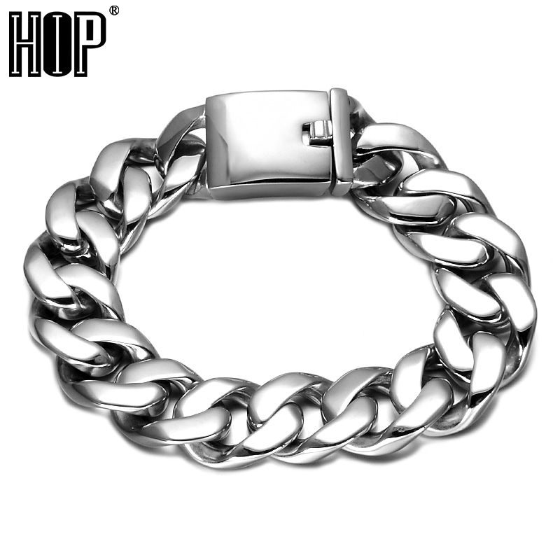 HIP 17MM Wide Heavy Rock Mens Bracelets Biker 316L Stainless Steel Curb Cuban Link Chain Bracelet For Men Jewelry trustylan shiny glossy 316l stainless steel mens bracelets 2018 20mm wide chain bracelets jewellery accessory man bracelet