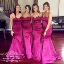 1ca1d881cbdb Abiti Da damigella d onore 2019 Fuchsia Satin Wedding Guest Dress  Sweetheart Sexy Lungo Della
