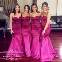 Bridesmaid Dresses 2019 Fuchsia Satin Wedding Guest Dress Sweetheart Sexy Mermaid Long Floor Length Bridesmaid Dress Custom Made
