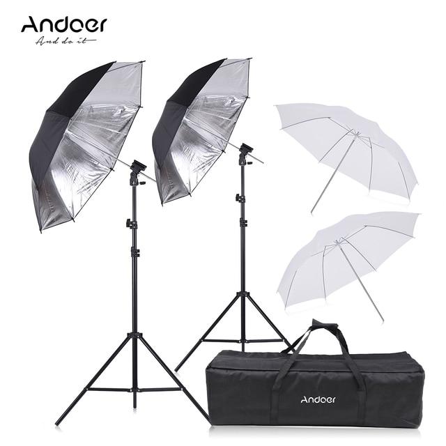 Andoer Speedlight Flash Giày Núi Xoay Mềm Umbrella Kit + Chân Đế + Ánh Sáng Đứng + Mềm Ô cho Canon Nikon hot Shoe Flash