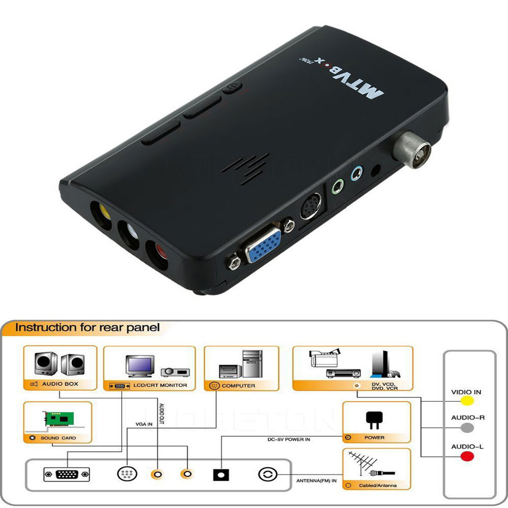 LNOP External HD LCD CRT VGA External TV Tuner MTV Box PC BOX Receiver Tuner HD 1080PTV Box AV To VGA With Remote Control