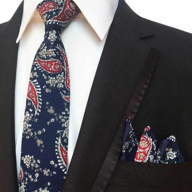 da0b7f573 6 cm moda traje pañuelo para hombres boda negocio partido 100% algodón  Floral Paisley impresión