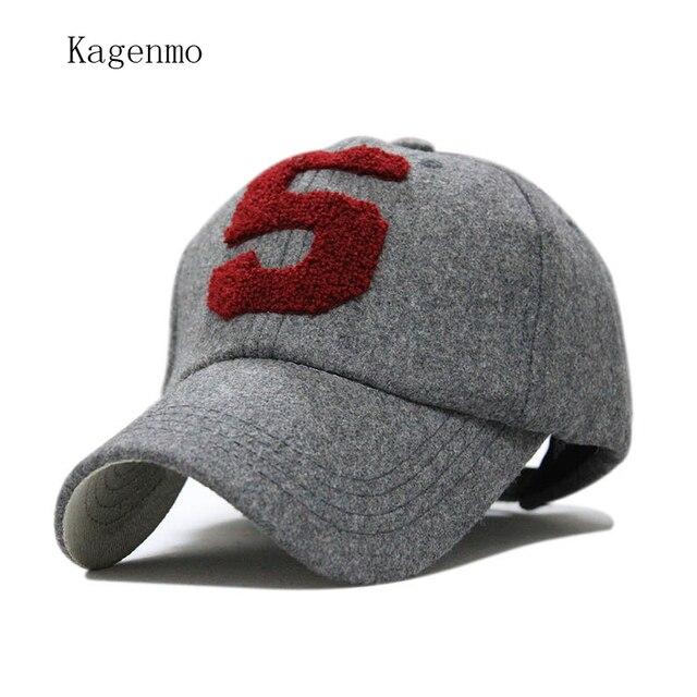Kagenmo baseball cap snapback fashion number 5 winter keep warm cap wool  thermal outside hat brand bone baseball cap spring 931f3041a8c6