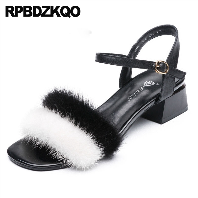 Fluffy Black And White Low Heel Chunky