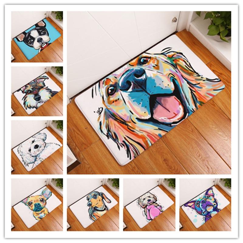 New Cartoon Style Lovely Dog Painting Dogs  Print Carpets Anti-slip Floor Mat Outdoor Rugs Animal Front Door Mats 40x60 50x80cm