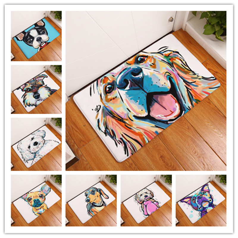 New Cartoon Style Lovely <font><b>Dog</b></font> Painting <font><b>Dogs</b></font> Print Carpets Anti-slip Floor Mat Outdoor Rugs Animal Front Door Mats 40x60 50x80cm image