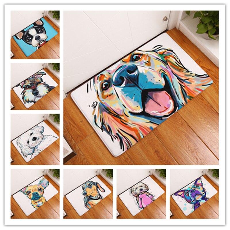 Nouveau Style de dessin animé beau chien peinture chiens imprimer tapis tapis de sol anti-dérapant tapis en plein air Animal porte avant tapis 40x60 50x80cm
