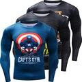 Забавный Капитан Америка Punisher 3D Печатные Quick Dry Футболки Мужчин Костюм С Длинным Рукавом Сжатия Рубашка Fit Clothing