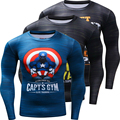 Funny Captain America  Punisher 3D Printed Quick Dry T-shirts Men Costume Long Sleeve Compression Shirt Fit Clothing