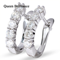 Queen Brilliance Fine Jewelry 18K White Gold 1 Ct GH Moissanite Stone Women's Stud Earring Brincos Grandes Party Jewelry