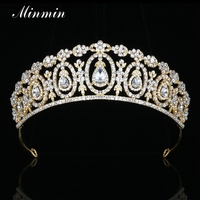 Minmin Shiny Crystal Rhinestone Flower Wedding Tiaras And Crowns Gold Plated Classic Bridal Hair Jewelry Accessories