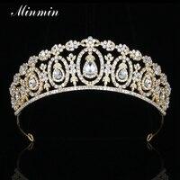 Minmin Shiny Kryształ Rhinestone Flower Ślub Diadem i Korony Złota-kolor Klasyczny Biżuteria Dla Nowożeńców Włosów Akcesoria MHG109