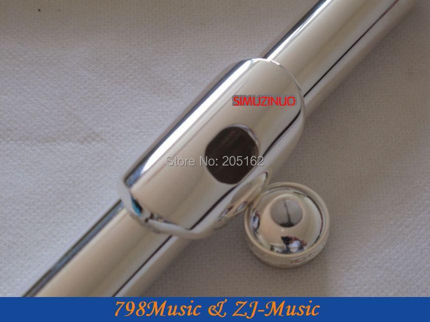 Fluit B Voet-open gat-Split-E-offset-G-verzilverd Carve patronen op toetsen-Nr 6