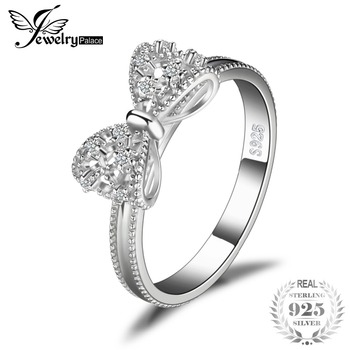 JewelryPalace 925 Sterling Silver High Quality Cubic Zirconia Sparkling Bow Knot Stackable Ring Micro Pave Rings For Women Gifts
