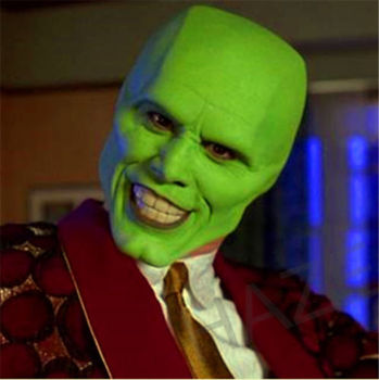 The Mask Movie Jim Carrey Cosplay Halloween Party Green Funcy Dress Adult Props the mask jim carrey movie film toys figure green alien mask
