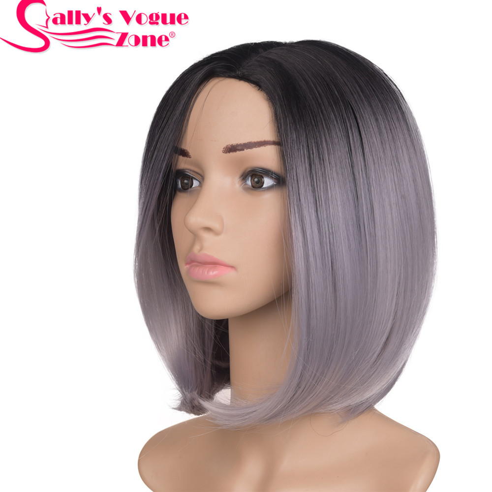 Sallyhair High Temperature Synthetic Straight Short Ombre Black Light Gray Grandma Grey Color Bob Wigs Hair For Black Women