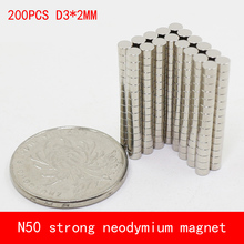 wholesale 200PCS D3*2mm mini round N50 Strong magnetic force rare earth Neodymium magnet diameter 3X2MM
