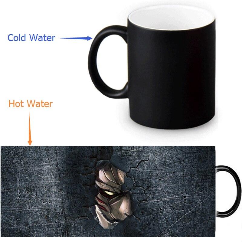 Attack on Titan Heat Reveal Mug Color Change Coffee Cup Sensitive Morphing Mugs Temperature Sensing DIY Birthday Gift