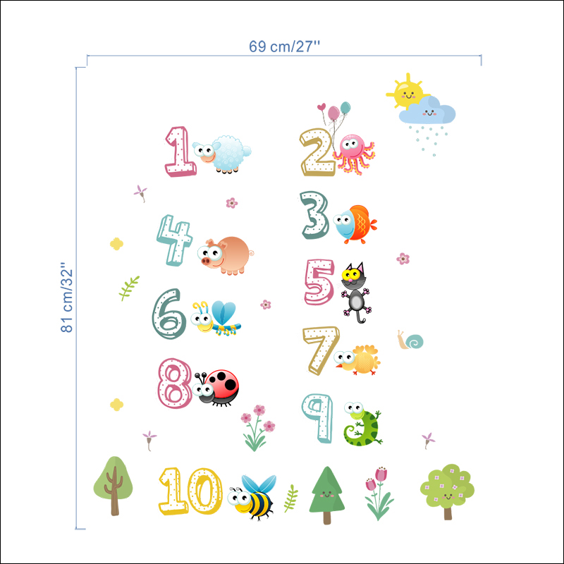 ZOOYOO® Arabic Numbers 1-10 Wall Stickers For Kids Rooms Decorations Cute Animal