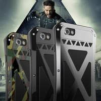 R-JUST Para iPhone 6 6 s Caso Estande Poeira Pesada Armadura de Metal Bumper Capa Para iPhone 6 6 s Plus anodizado Casco De Alumínio De Aviação