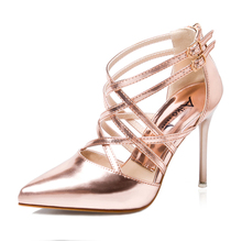 Gold Silver Champange Candy Color Women Pointed Toe Strappy Cut Out Cross Tied Sandals Wedding Bridal Party Shoes Pump High Heel