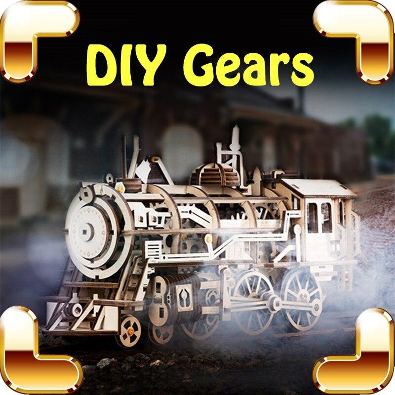 Nouvelle idée cadeau engrenages mécaniques série 3D Puzzles bois Puzzle Train Air véhicule engrenage entraînement Tech Machine bricolage jeu éducatif jouets