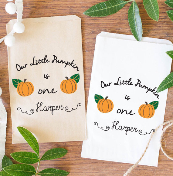 5ee568040d85 custom pumpkin is one Children fall BIRTHDAY popcorn candy Buffet lolly  bags Baby Shower Bakery Cookie donut gift Favors pouches-in Gift Bags    Wrapping ...