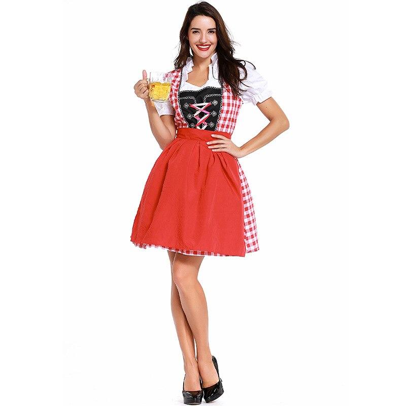 In Staat Authentieke Vrouwen Beierse Dirndl Jurk Exclusieve Oktoberfest Plaid Patroon Duitse Beer Girl Maid Jurk Met Schort Serveerster Jurk Kleuren Zijn Opvallend