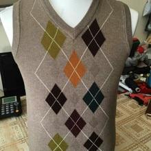 Дизайн осень мужской модный клетчатый кашемировый свитер жилет мужской повседневный с v-образным вырезом без рукавов argyle свитер пуловеры
