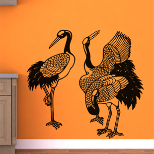 Free Shipping Wall stickers Home decor SIze:970MM*1010mm PVC Vinyl paster Removable Art Mural Crane Birds X-133