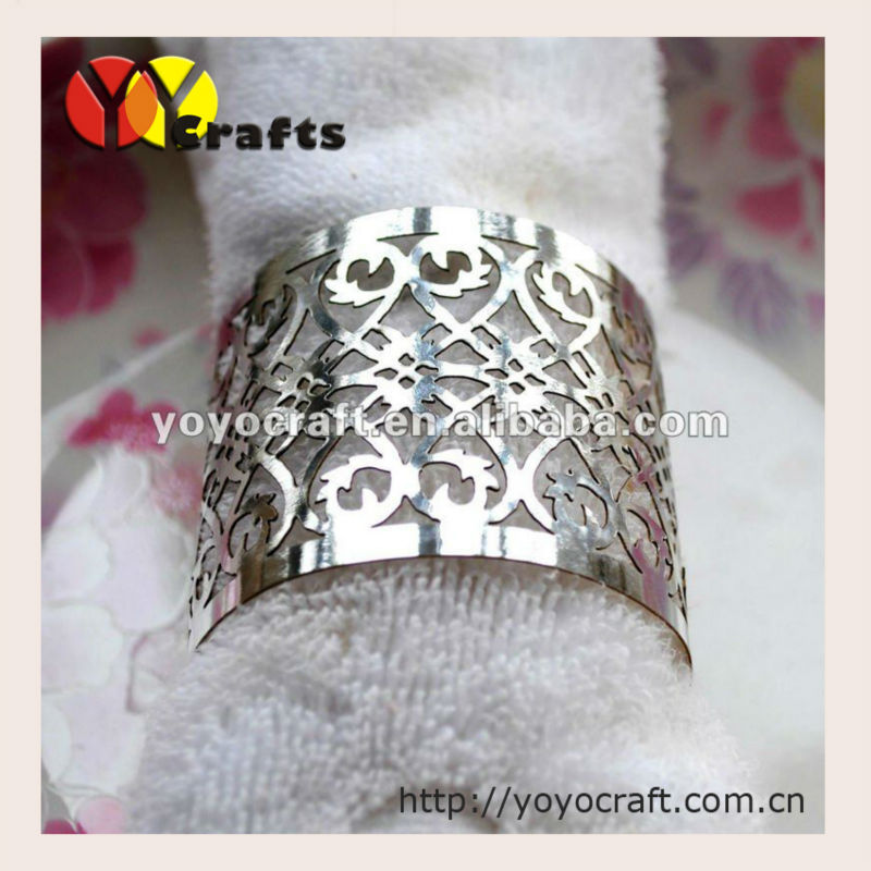 100pcs per lot hot sell metallic silver wedding napkin ring cheap price 3d handmade wedding and party table decoration supplier